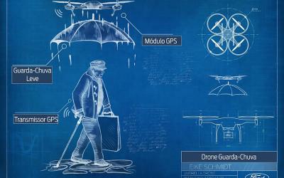 Ford cria conceitos inovadores de drones que servem como guia de cegos, primeiros-socorros, guarda-chuva e até babá de cachorros