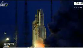 A decolagem foi considerada perfeita pelo centro de controles da ArianespaceReprodução/TV NBr
