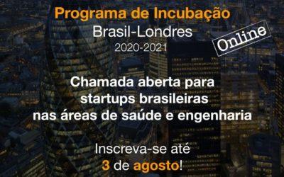 Programa de Incubação Brasil-Londres abre chamada para startups brasileiras nas áreas de saúde e engenharia